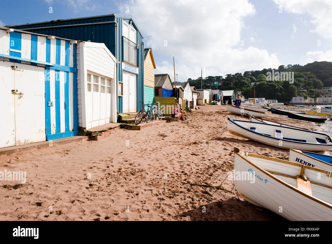 Boats and houses at riverbank, Shaldon, Teignmouth, Devon, South West England, England, Great Britain - Stock Image