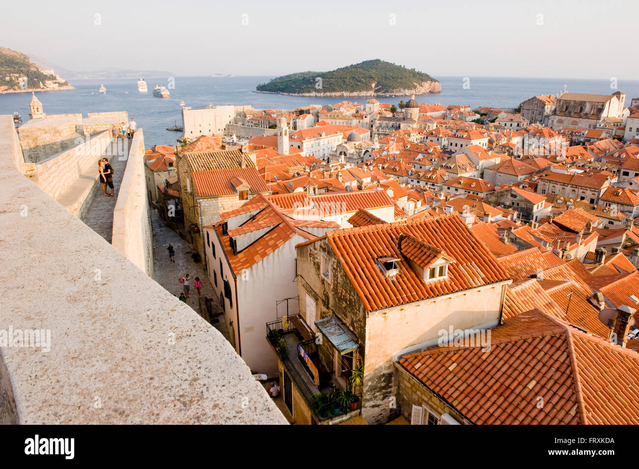 View over roofs to Elaphites, Dubrovnic, Croatia Stock Photo