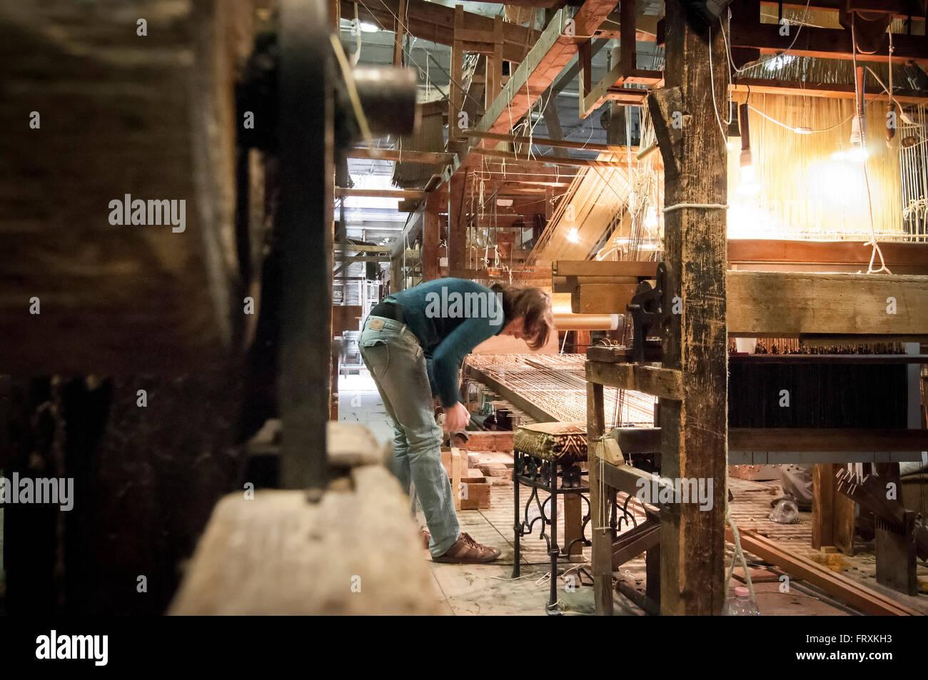 Loom, traditional brocade weaving, Venice, Veneto, Italy - Stock Image