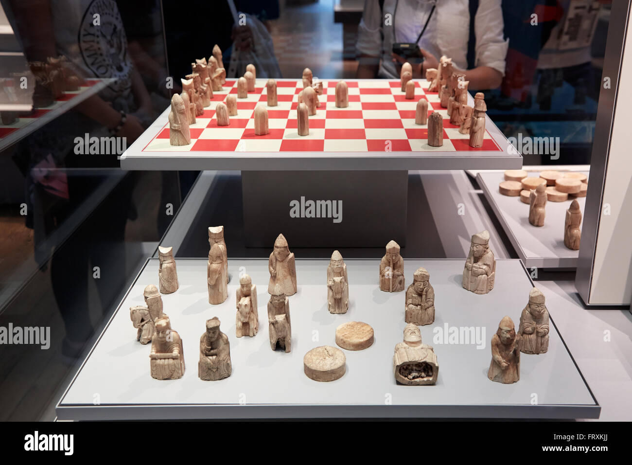 Lewis chessmen, walrus ivory chess pieces in British Museum collection in London - Stock Image