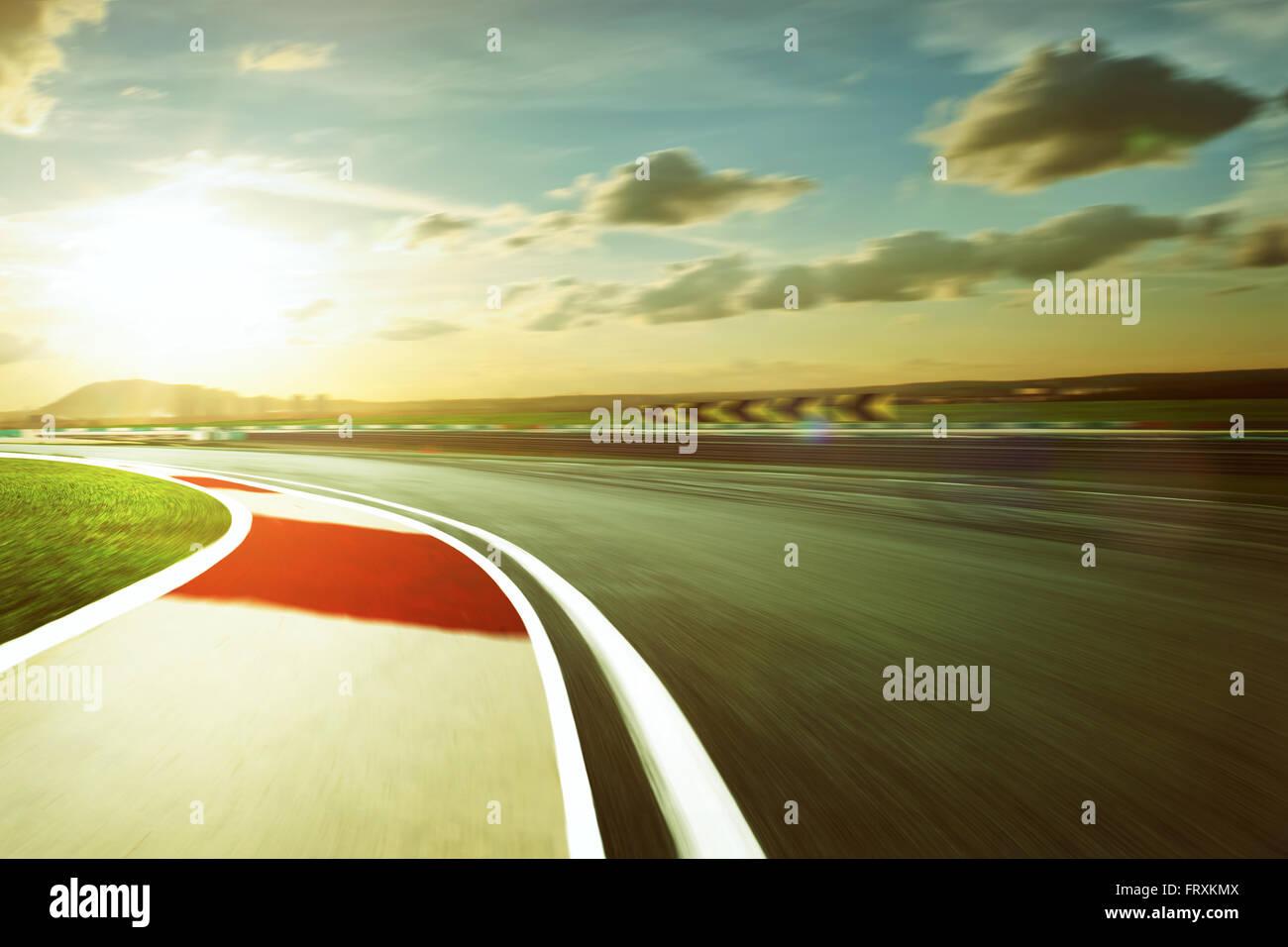 Motion blurred racetrack,vintage mood mood - Stock Image