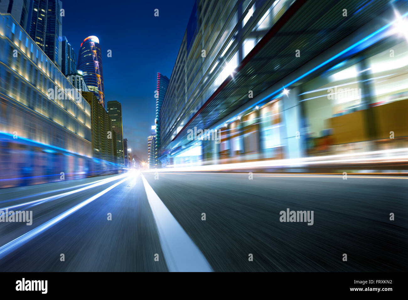 cold mood city street motion blur background - Stock Image