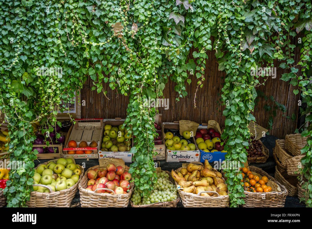 Fruit stall, Finalborgo, Finale Ligure, Province of Savona, Liguria, Italy - Stock Image