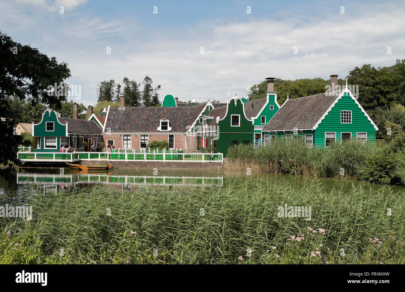 A merchant's house from the Zaan region in the Netherlands Open Air Museum (Nederlands Openluchtmuseum), Arnhem, - Stock Image