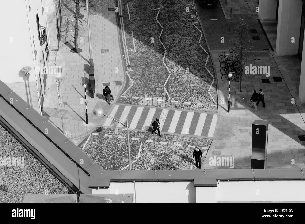 Looking down from St David's car park in Cardiff City Centre. - Stock Image