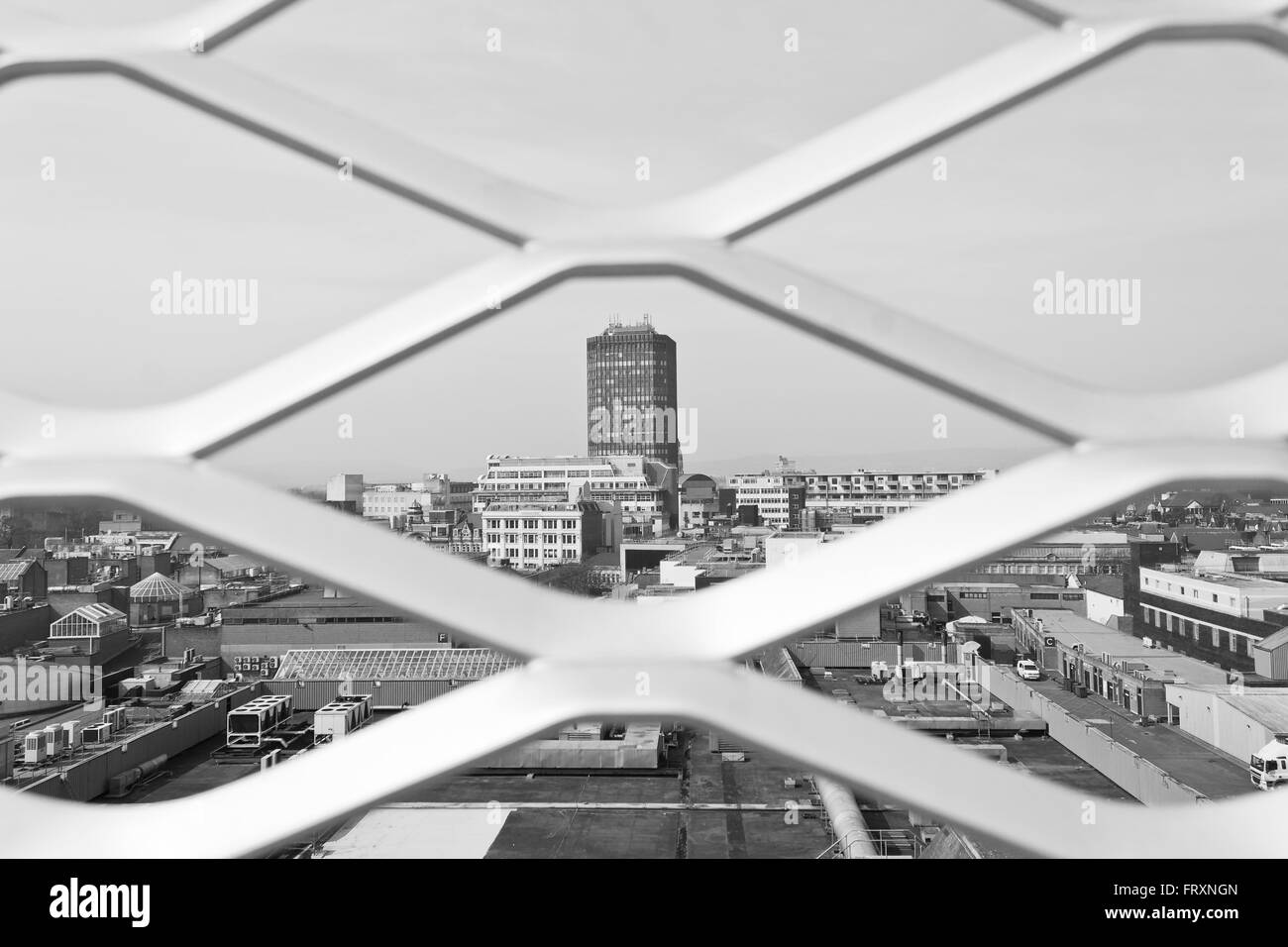 Landscape of Cardiff City Centre from top of St David's car park. - Stock Image
