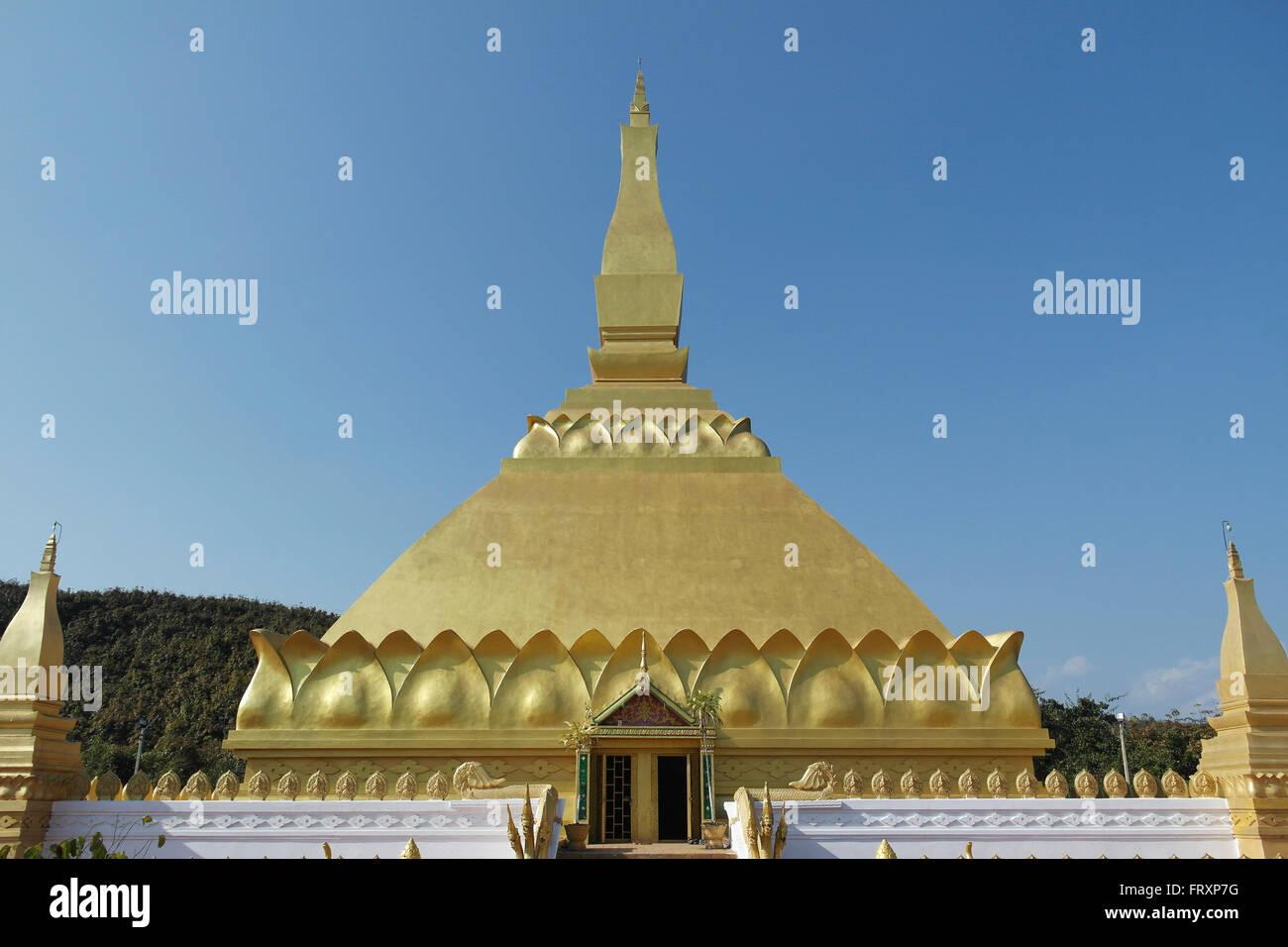 Golden Pagoda in Luang Namtha - Laos - Stock Image