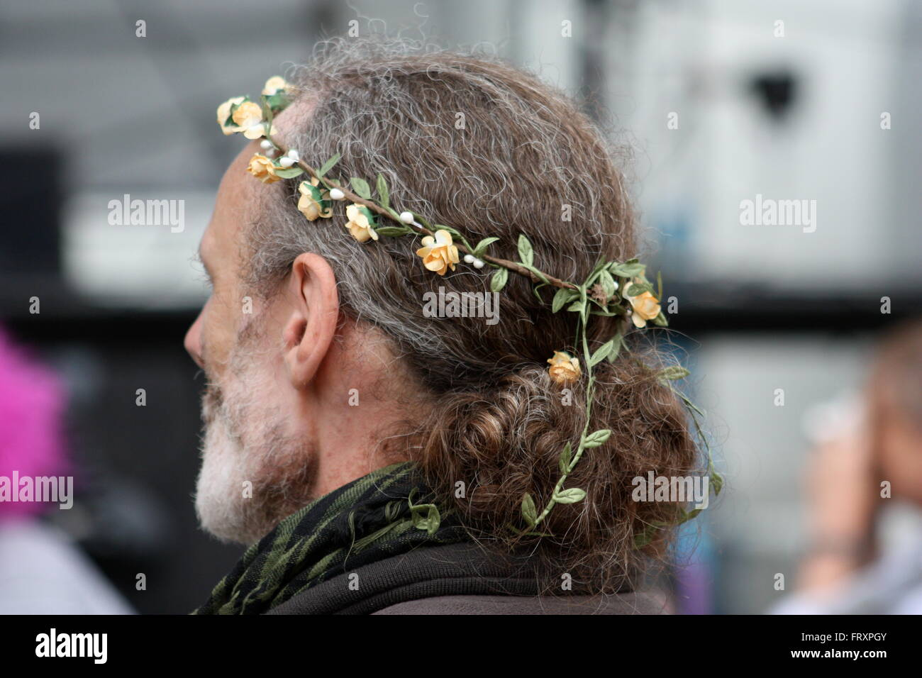 With flowers in your hair ... Fairport Cropredy Convention - Stock Image