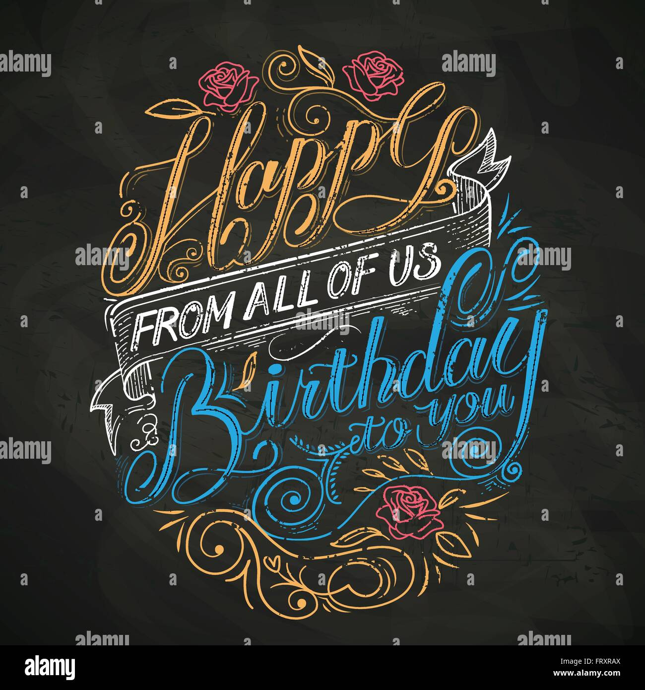 attractive happy birthday to you calligraphy poster design stock