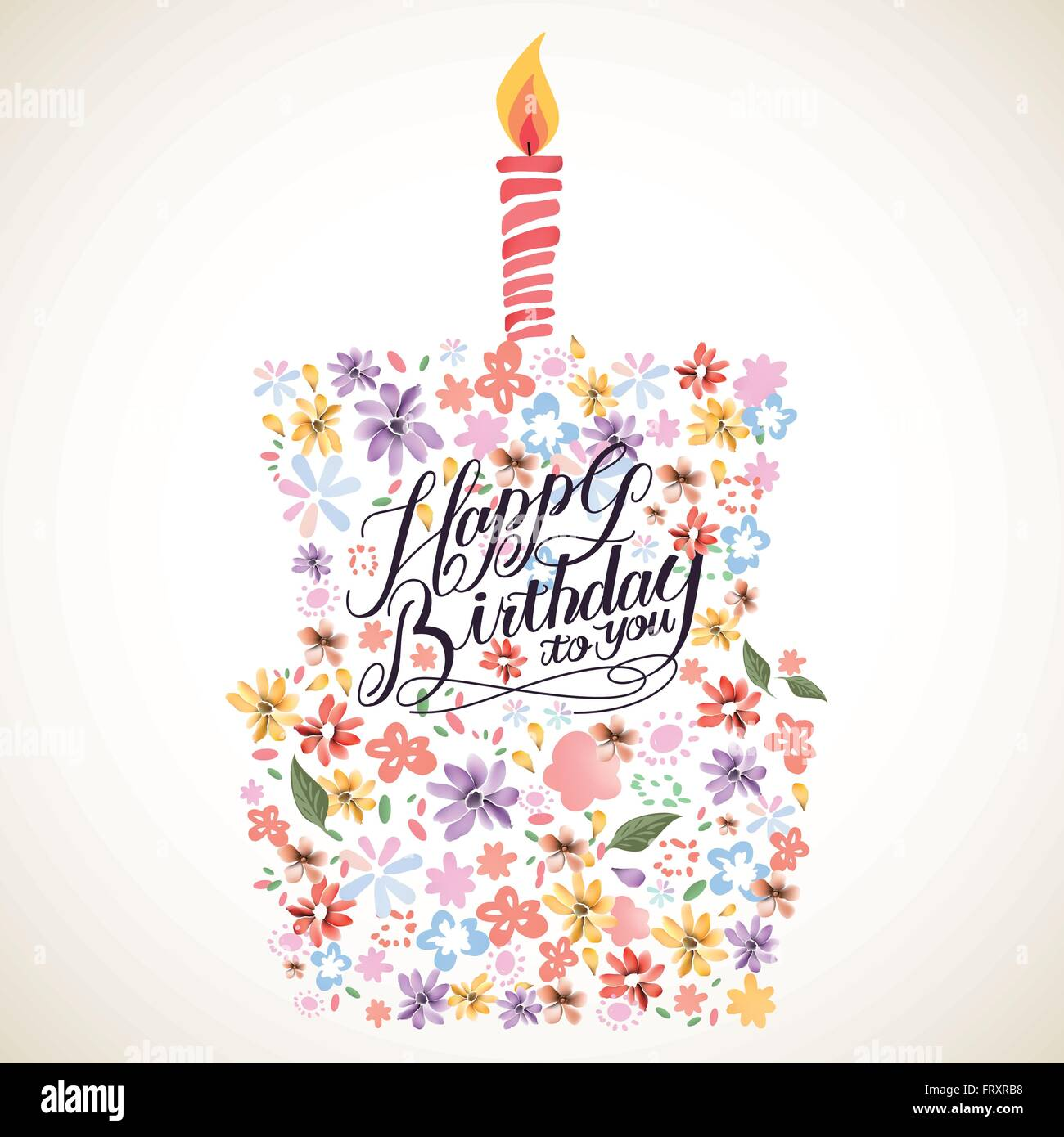 Lovely Happy Birthday Calligraphy Poster Design With