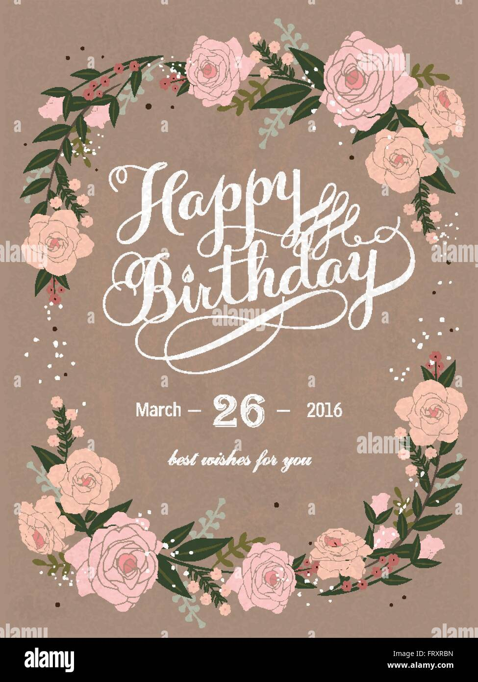romantic happy birthday calligraphy and poster design with floral