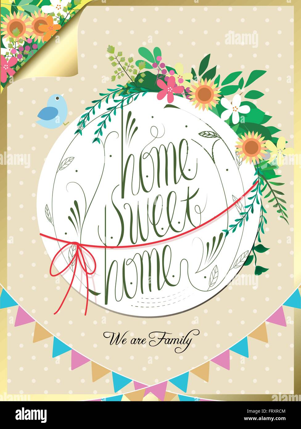 lovely home sweet home calligraphy poster design with floral elements - Stock Vector