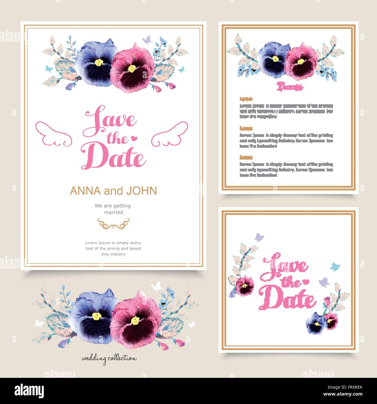 romantic pansy wedding invitation template design in watercolor ...