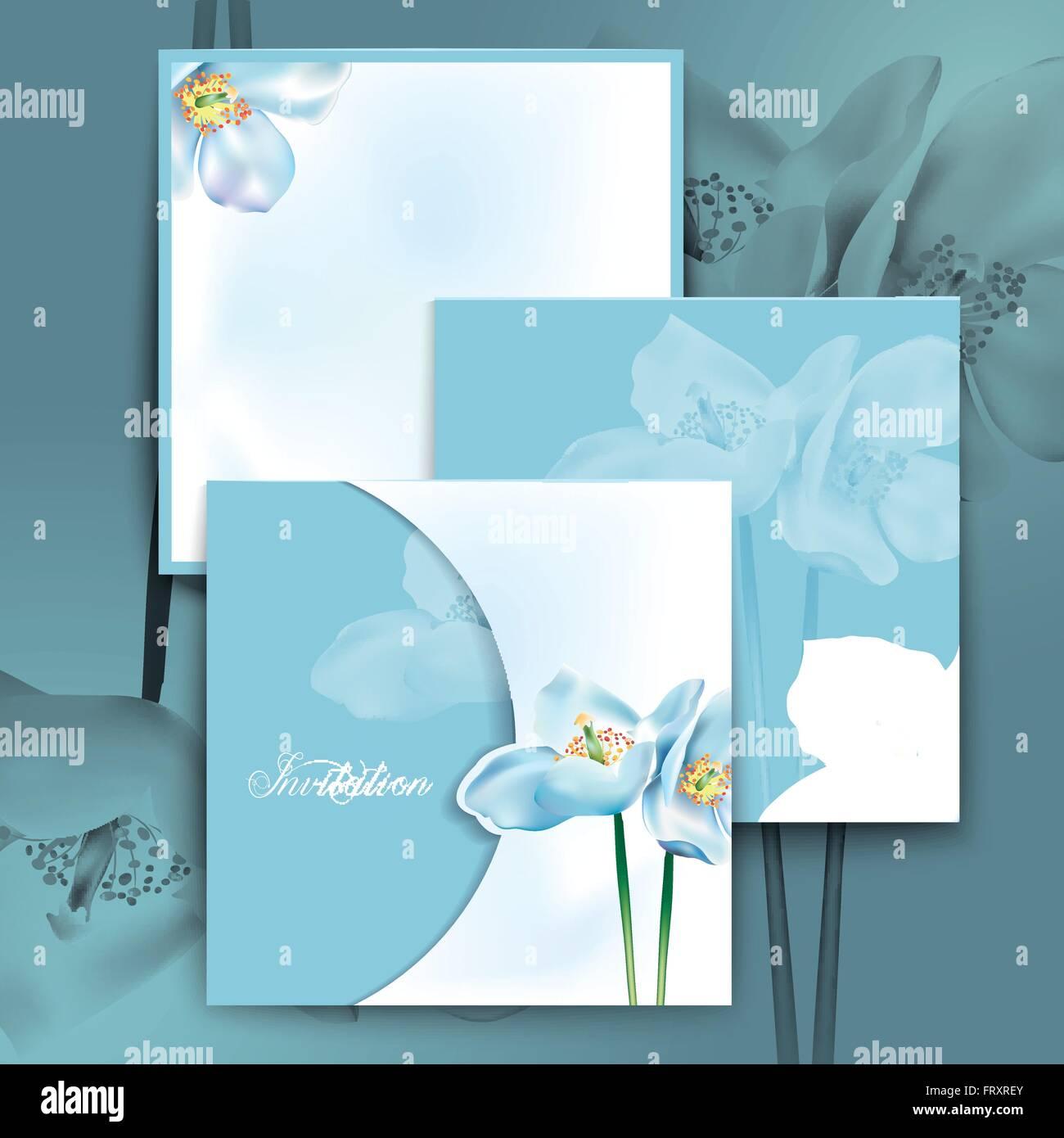 Romantic Watercolor Flowers Invitation Template Design In Blue Stock