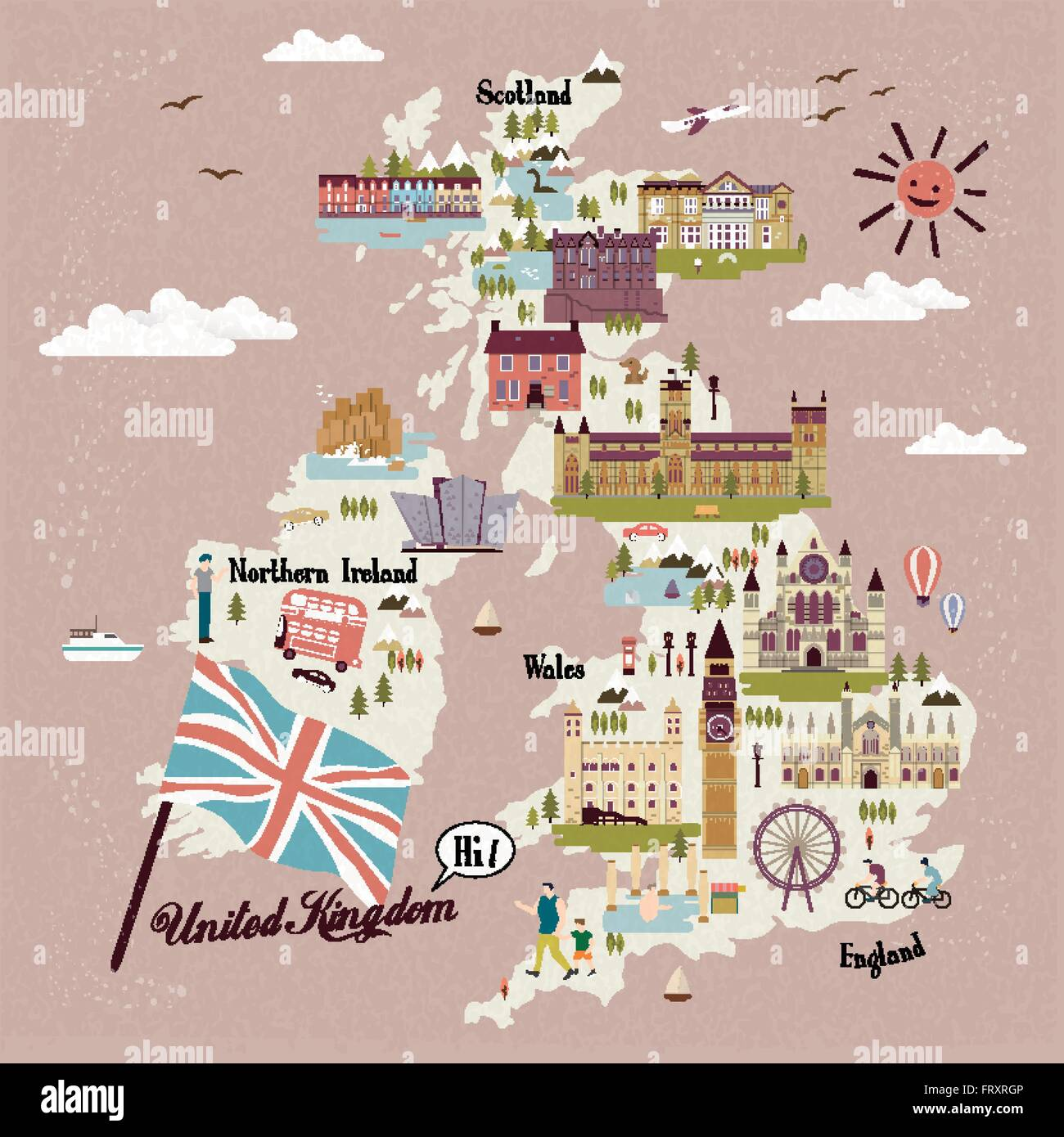 adorable United Kingdom travel map with attractions - Stock Vector