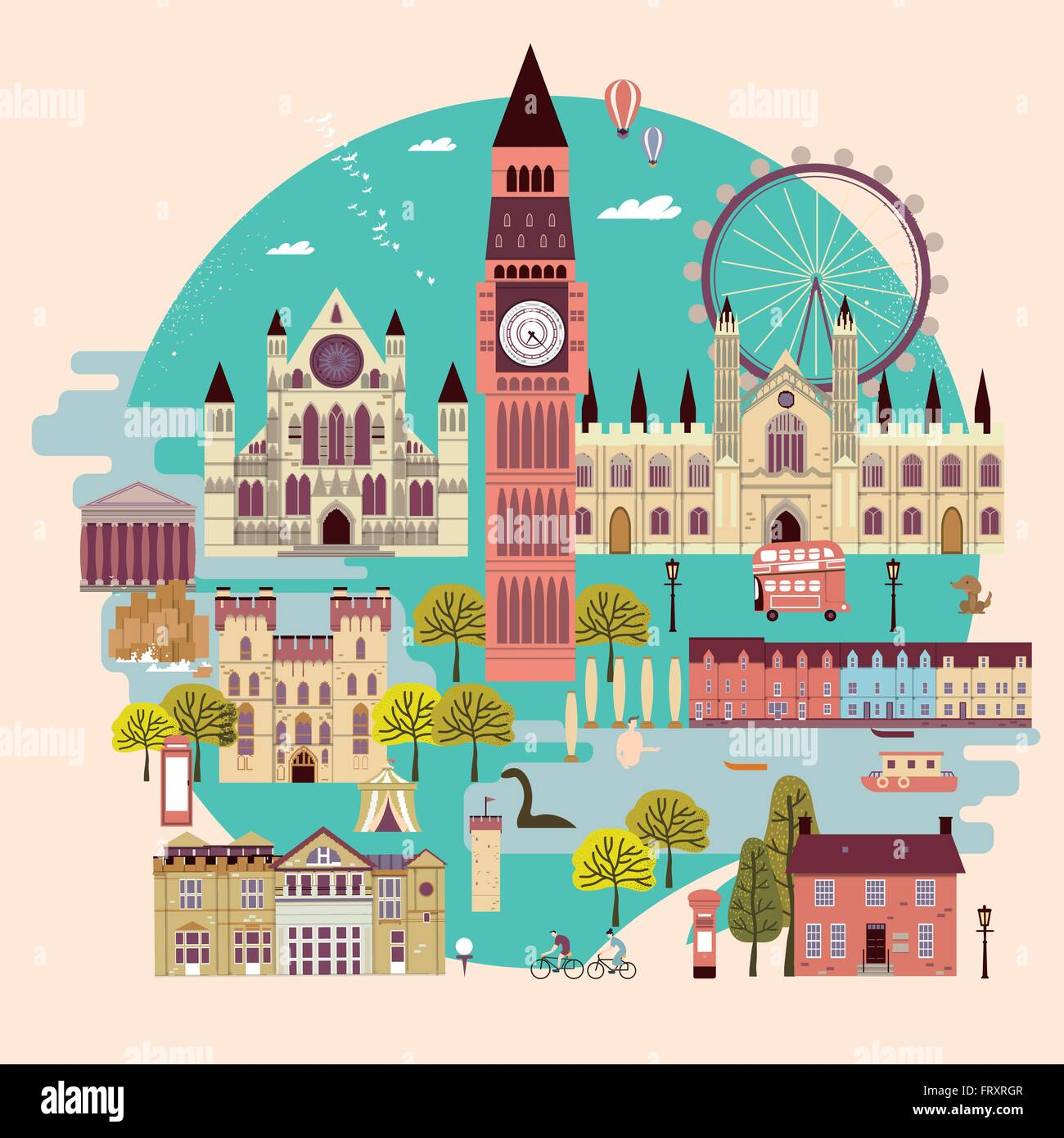 adorable United Kingdom attractions collection in flat design - Stock Vector