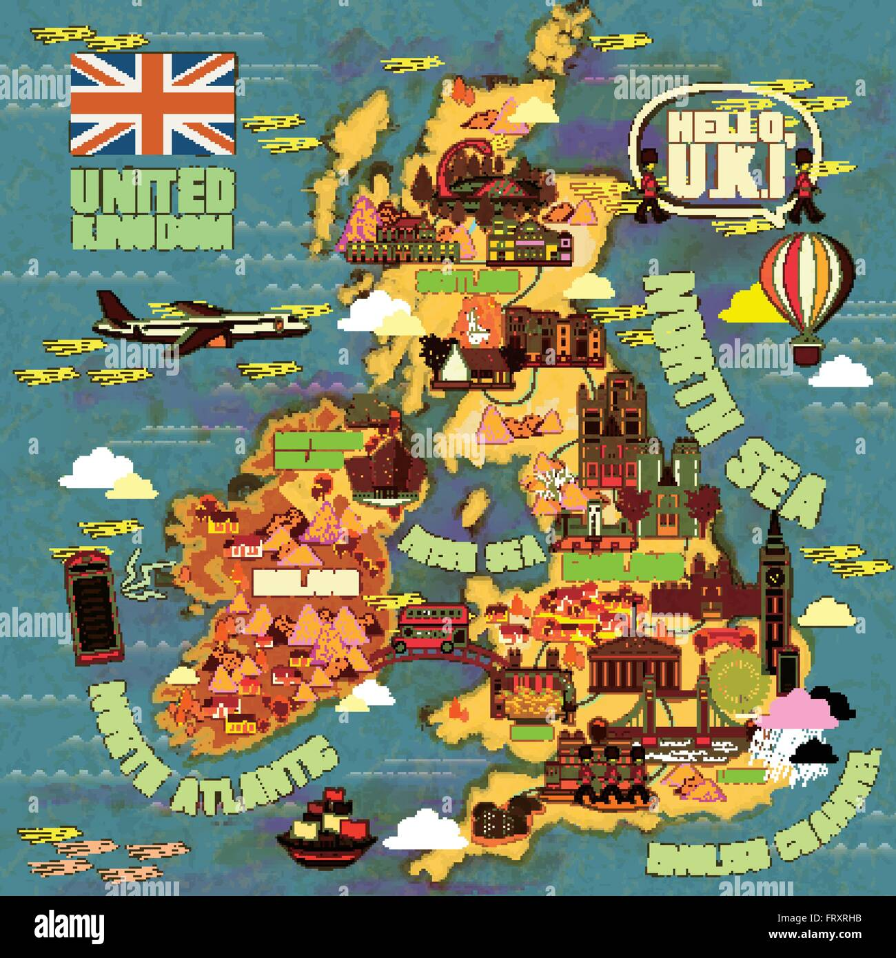 lovely united kingdom travel map with attractions icon