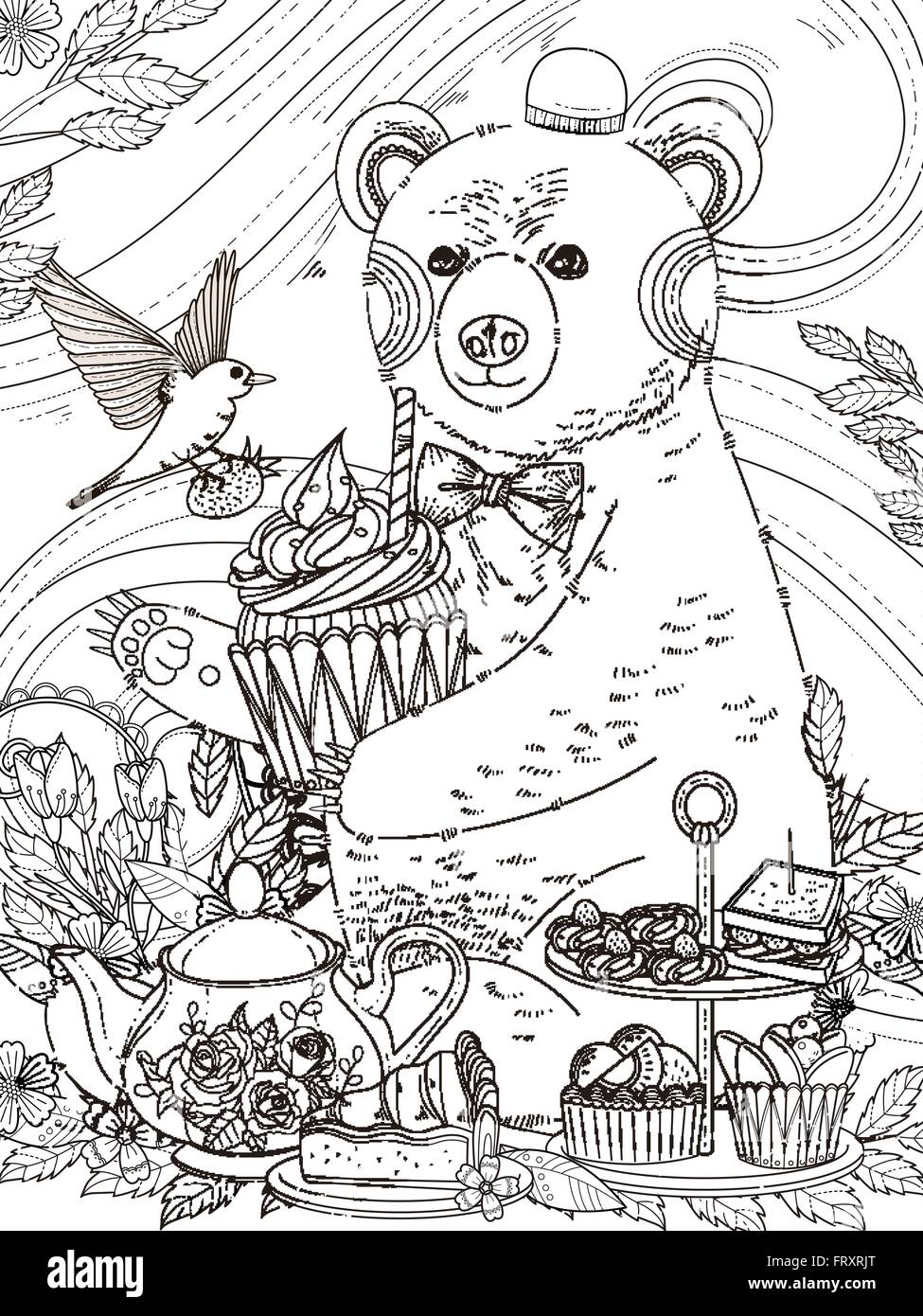 lovely bear enjoys afternoon tea - adult coloring page Stock Vector ...