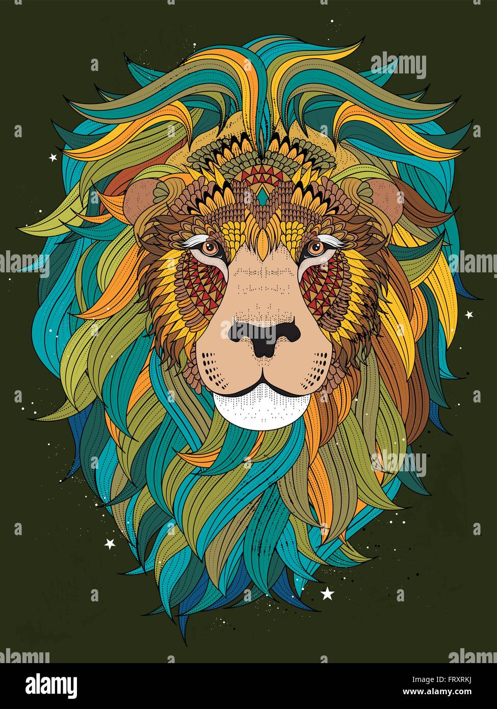 Attractive fluffy lion head adult coloring page
