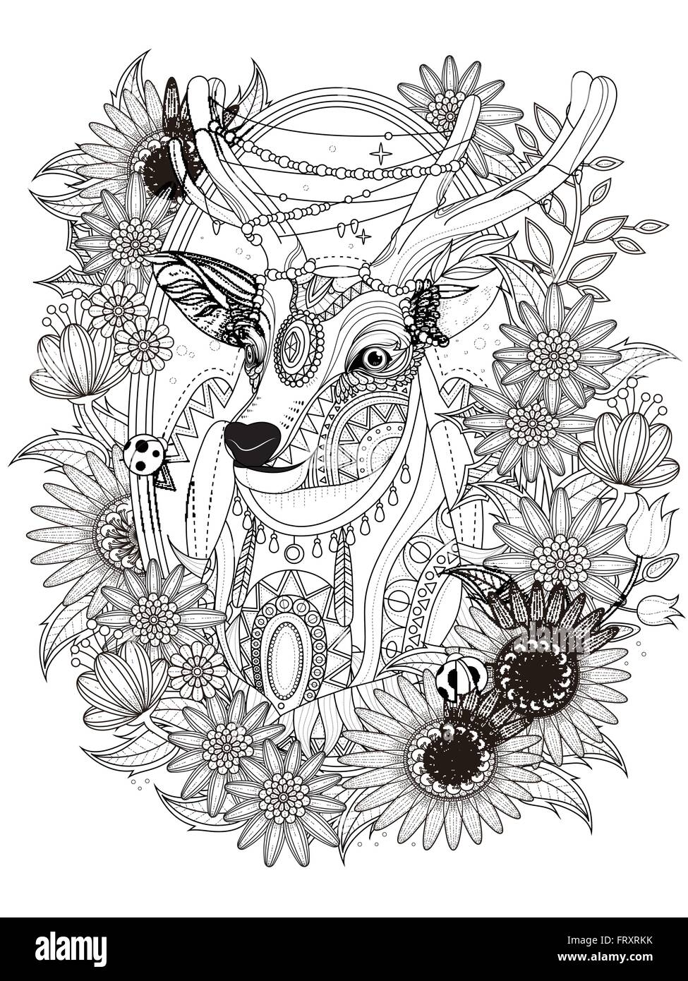 gorgeous deer with floral wreath - adult coloring page Stock Vector ...