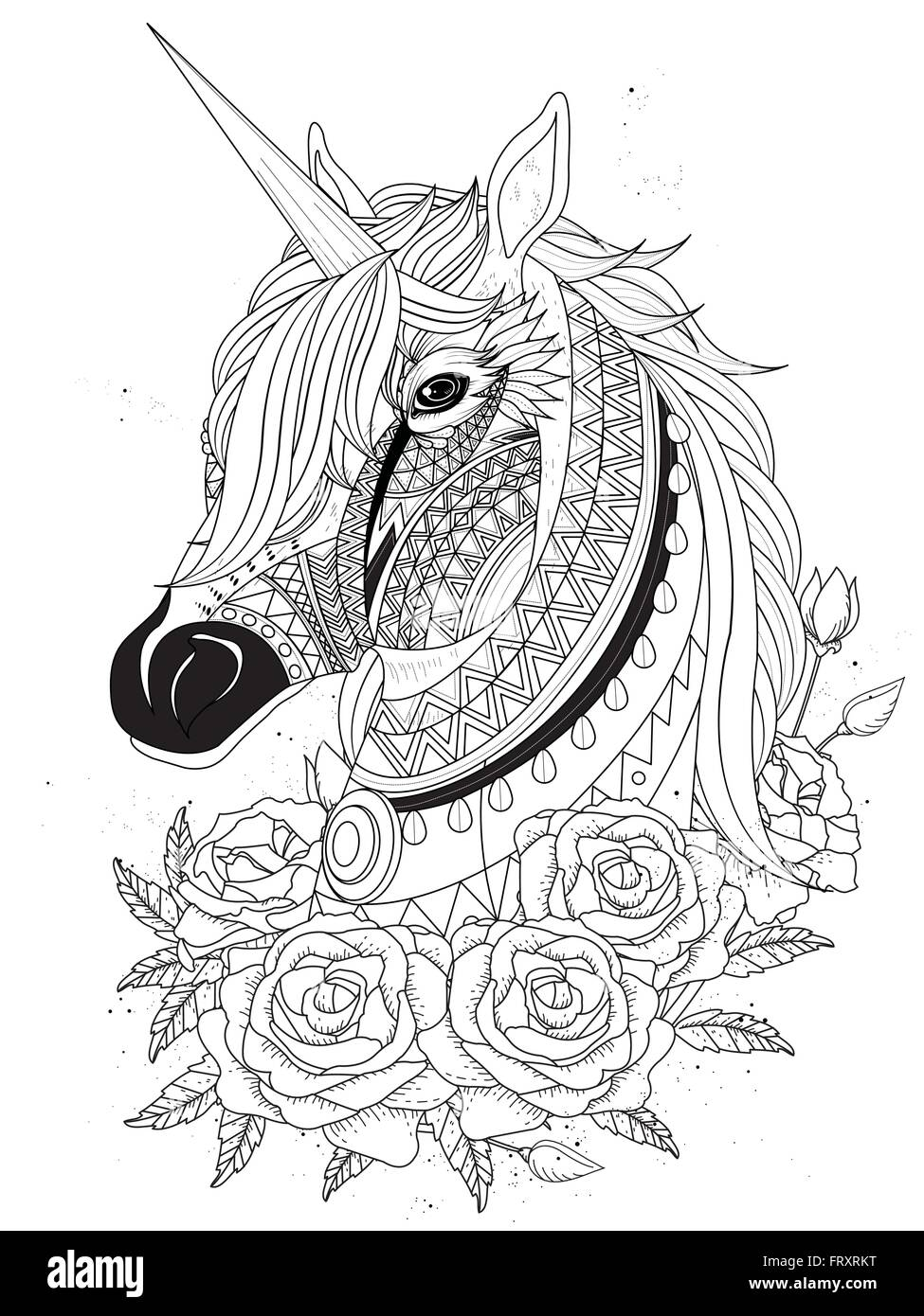 Sacred Unicorn With Roses Adult Coloring Page Stock