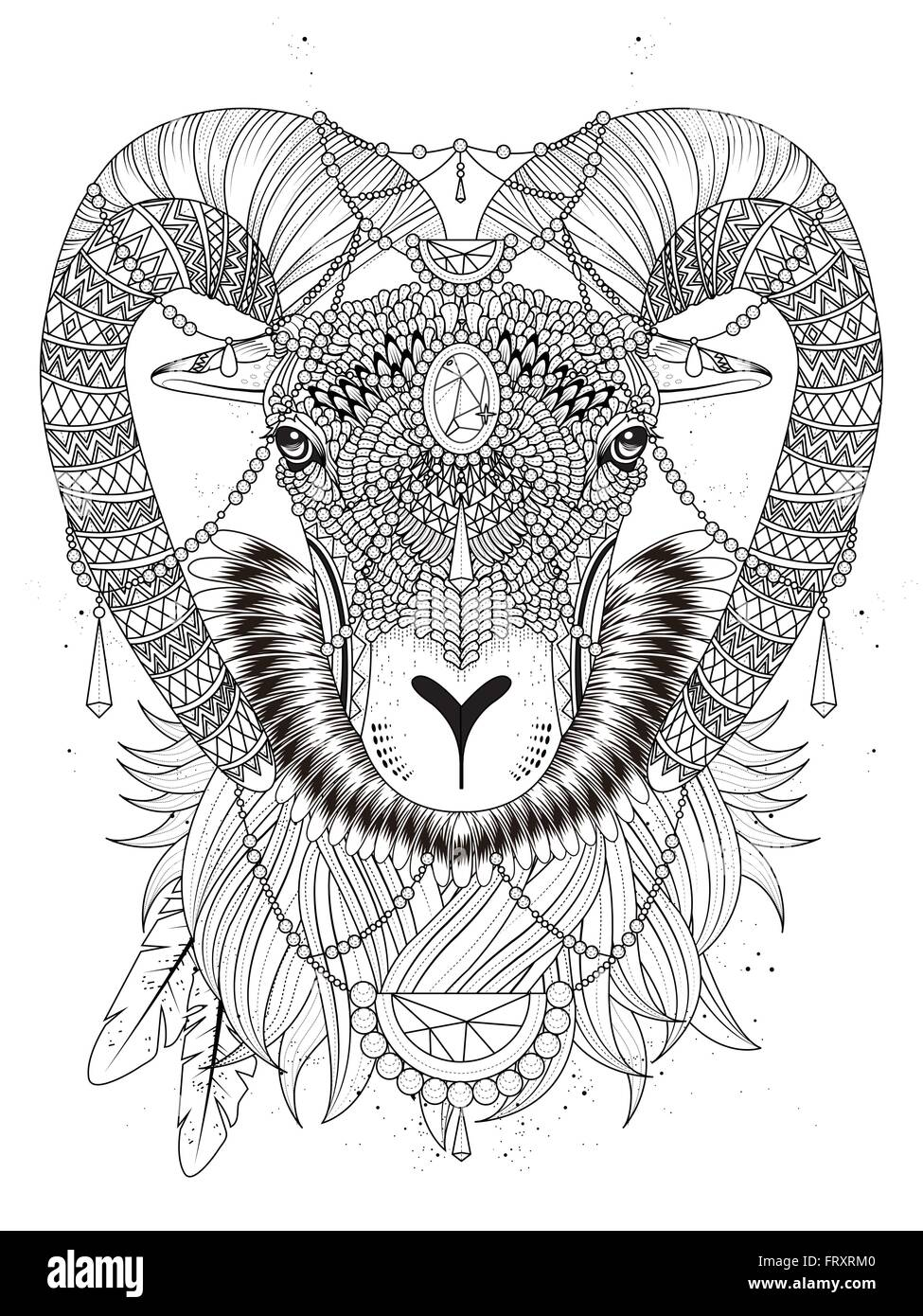 sumptuous goat head with bighorn adult coloring page FRXRM0