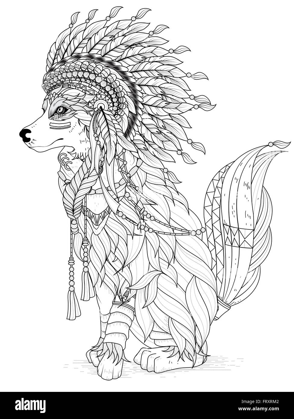 indian and wolf coloring pages - photo#10
