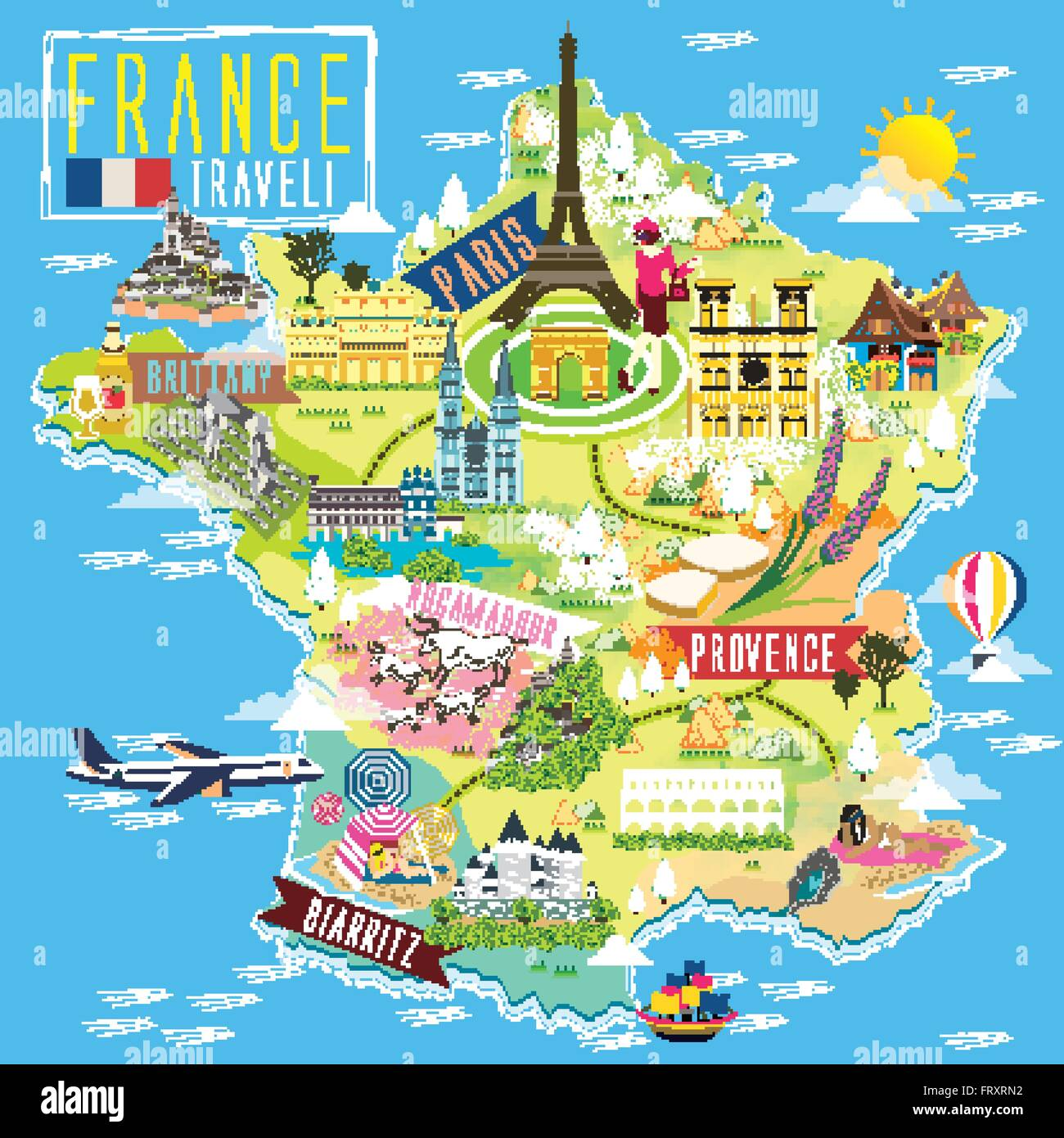 Map Of France Tourist Attractions.Lovely France Travel Map With Attraction Symbols Stock Vector Art