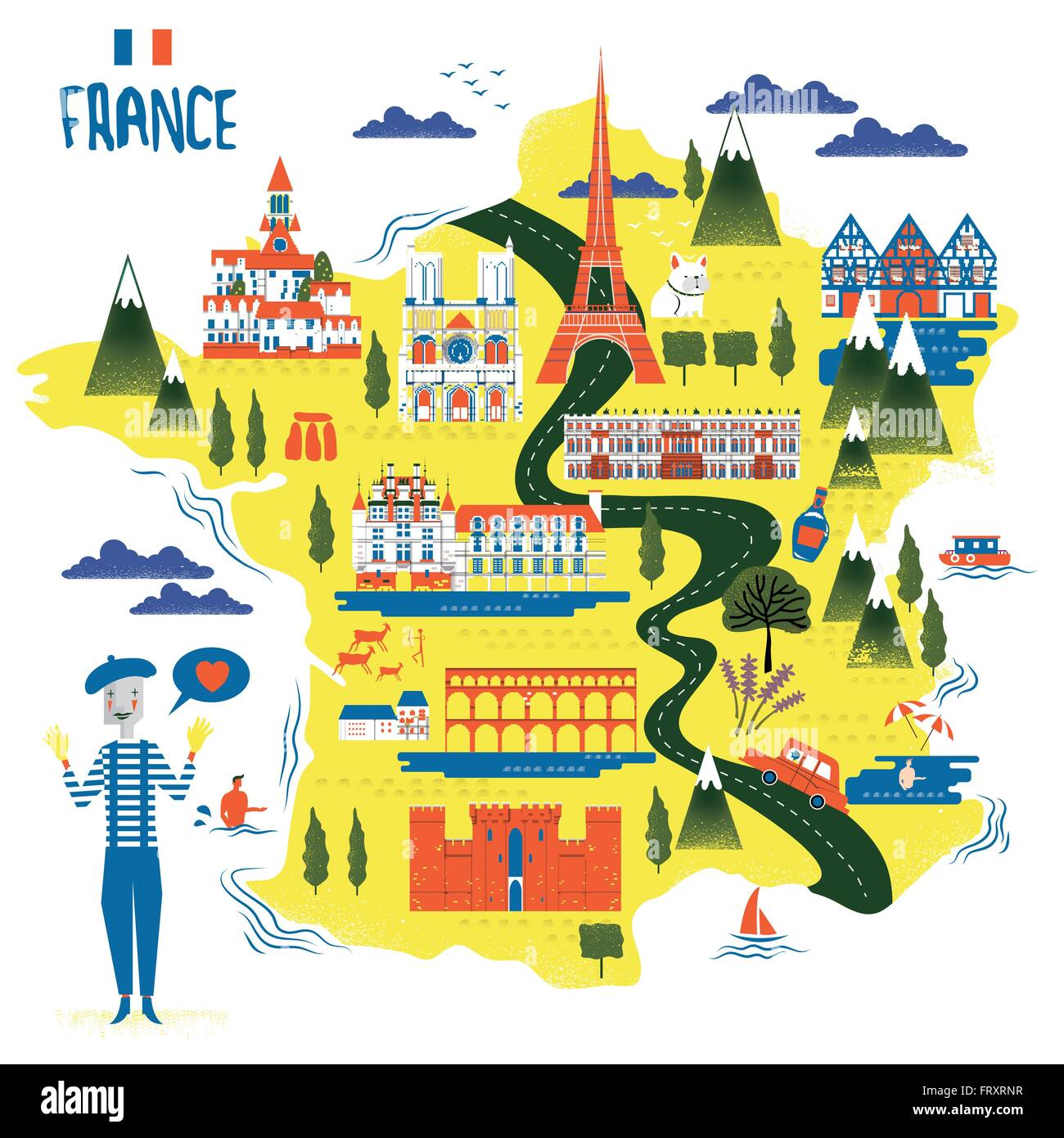 Travel Map Of France.Adorable France Travel Map With Attractions And Specialties Stock