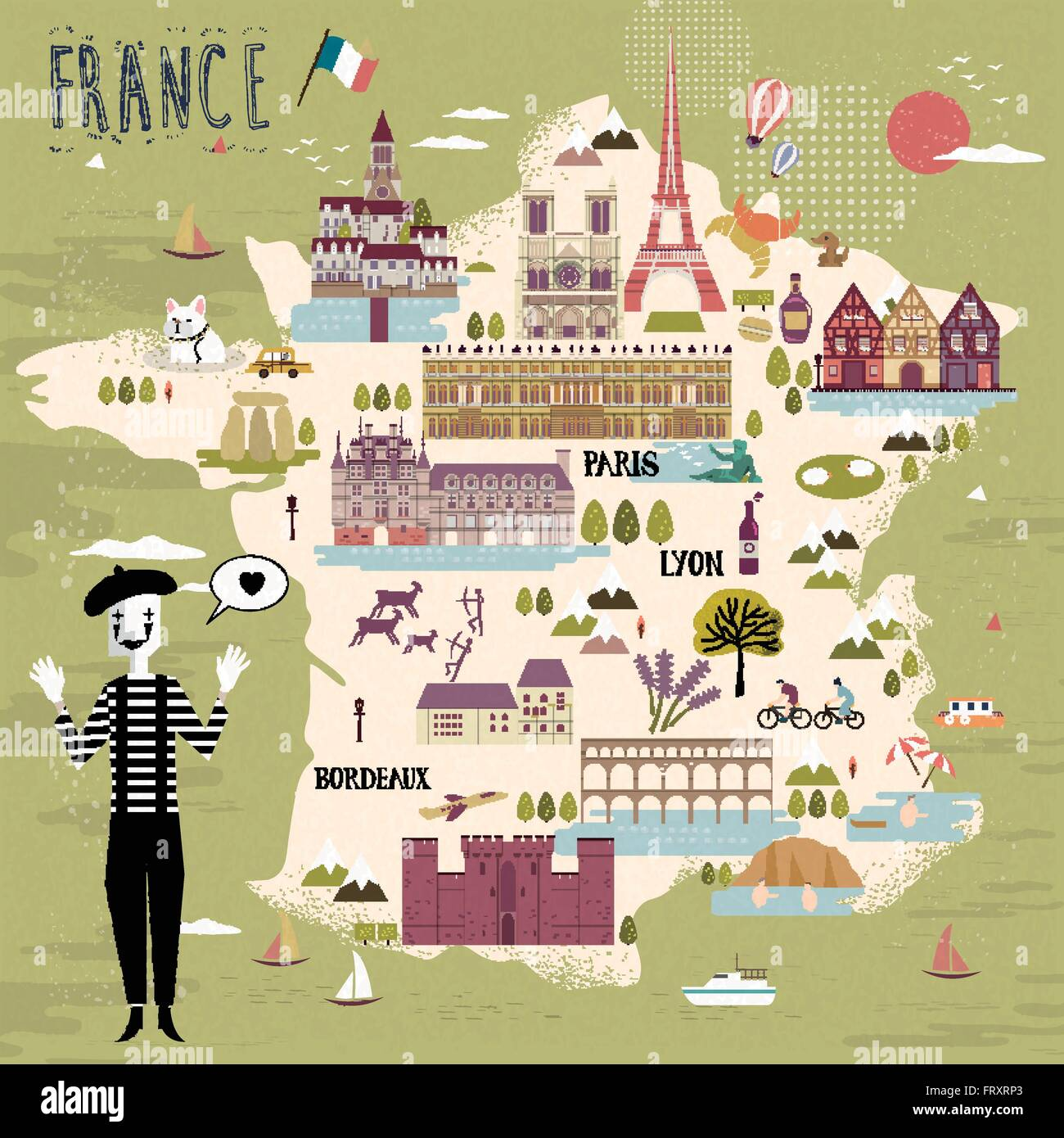 adorable France travel map with attractions and specialties - Stock Image