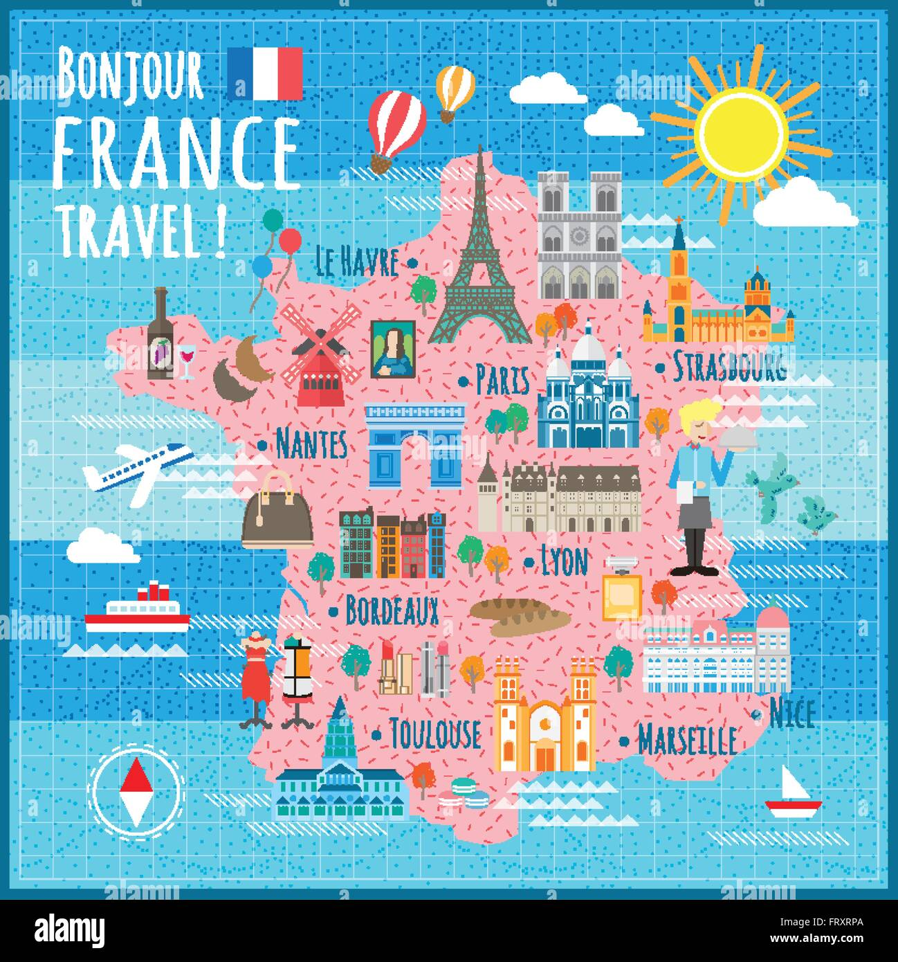 attractive France travel map with attractions and specialties Stock