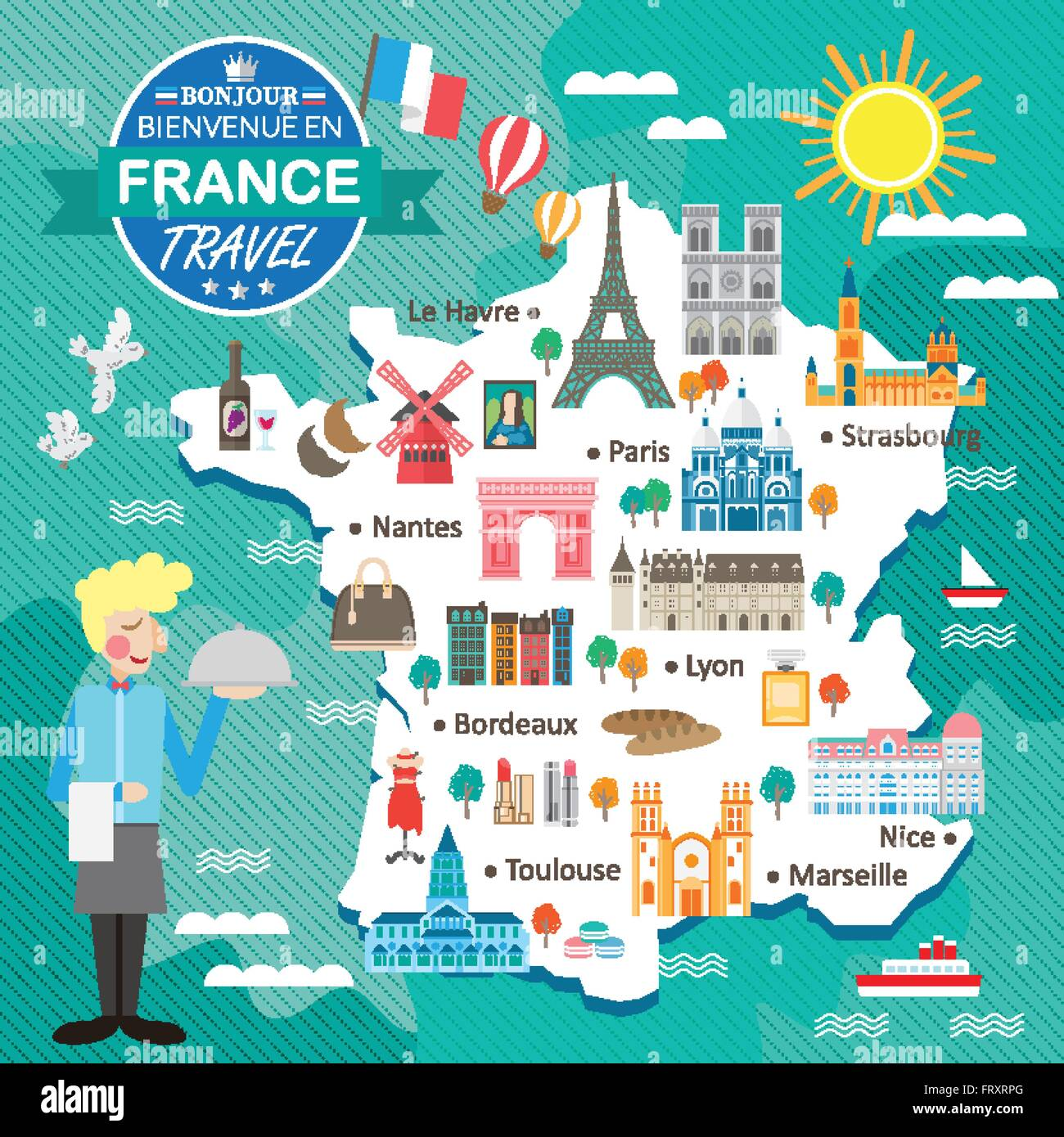 attractive France travel map with attractions and specialties Stock ...