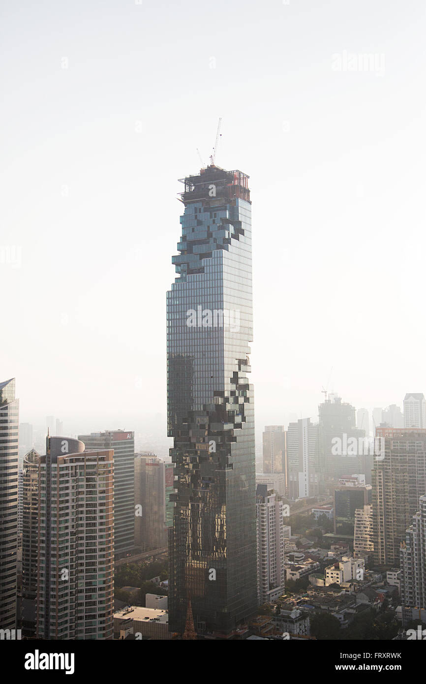 View at MahaNakhon skyscraper in Bangkok, Thailand. It is a luxury 77 floor  skyscraper c - Stock Image