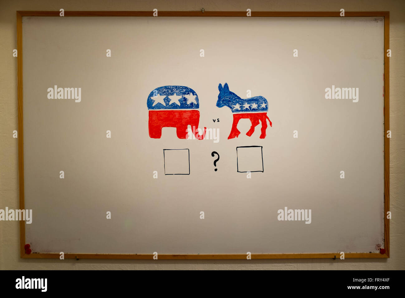 Concurrent politics concept. Democrats vs republicans elections. USA 2016. Drawn on whiteboard with markers. Empty - Stock Image