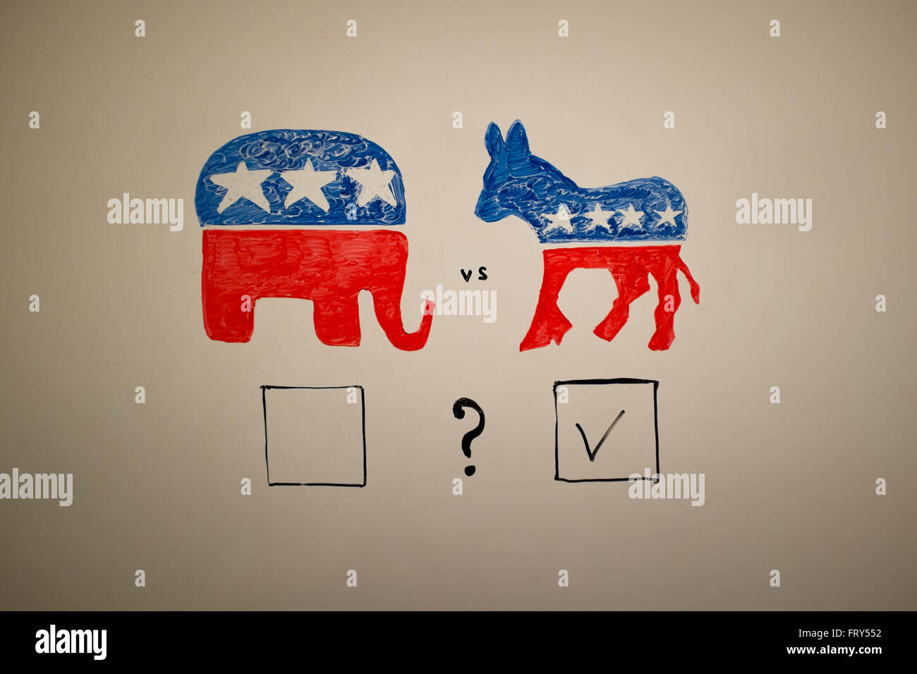 Concurrent politics concept. Democrats vs republicans elections. USA 2016. Drawn on whiteboard with markers. Squares - Stock Image