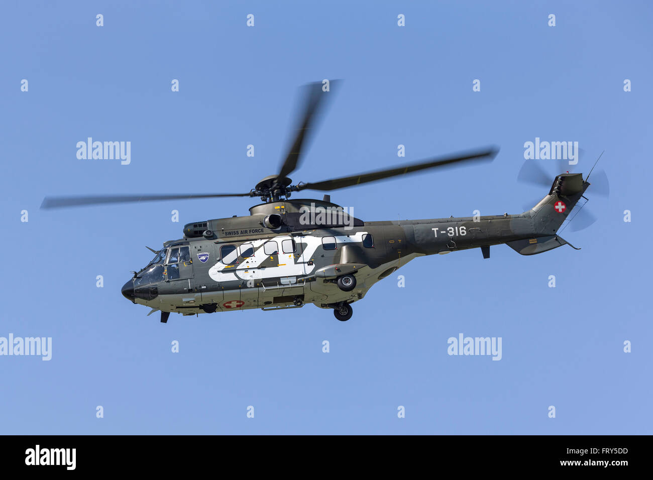 Aerospatiale AS332 (TH89) Super Puma Military helicopter T-316 from the Swiss Air Force (Schweizer Luftwaffe) - Stock Image