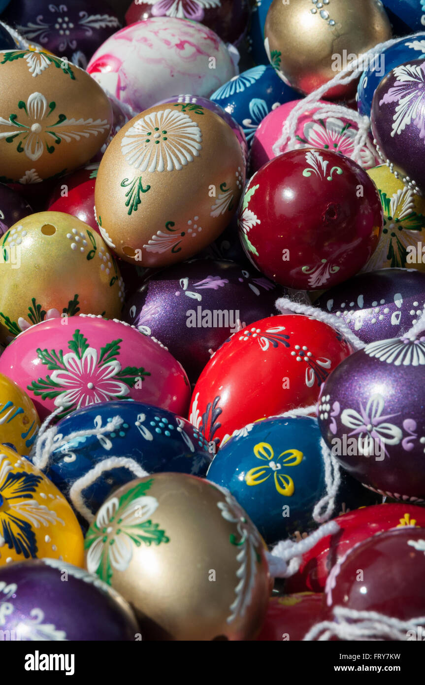 Traditional Easter Eggs On Sale At A Local Market In Bratislava