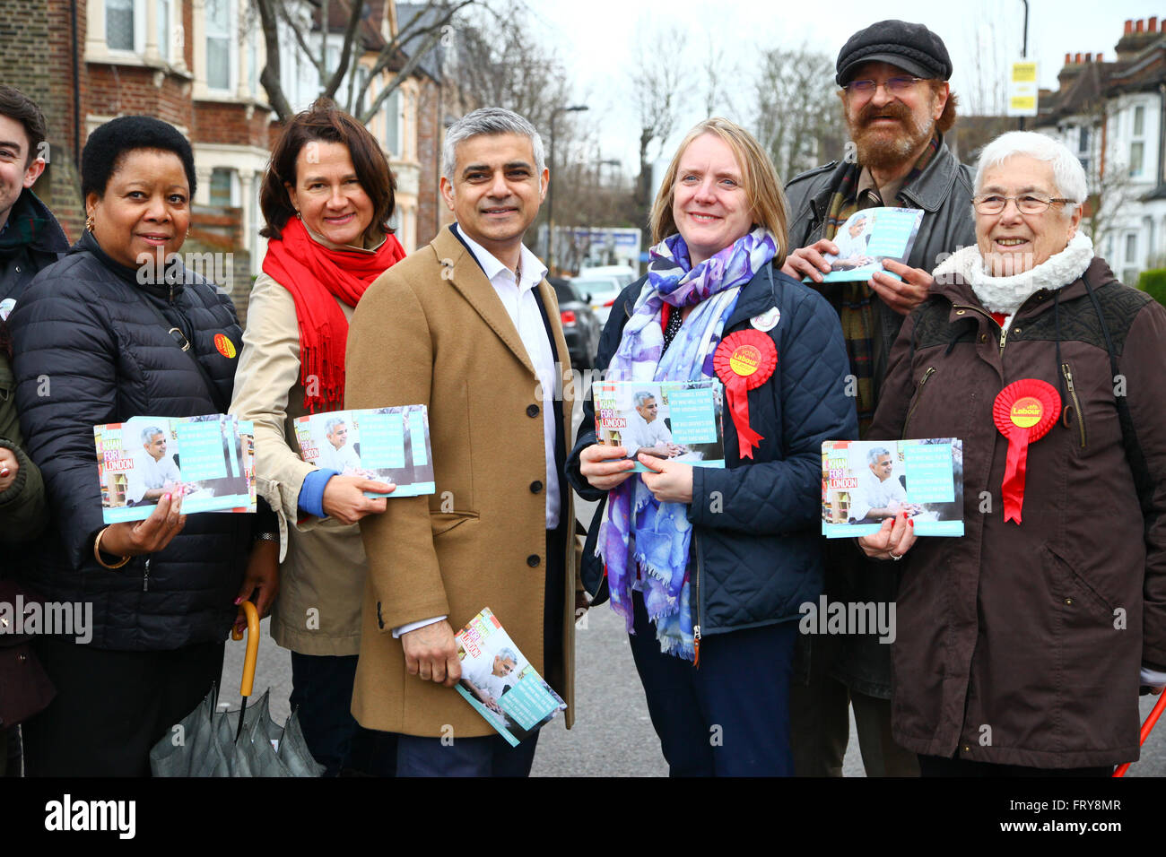 Tottenham, London, UK. 24th March, 2016. Sadiq Khan, Labour candidate for Mayor of London joins Joanne McCartney, - Stock Image