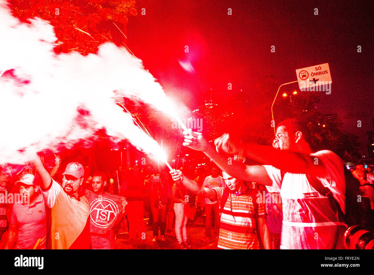 Sao Paulo, Brazil, 03/24/2016. Protest organized by social movements in the Act in defense of democracy and against - Stock Image