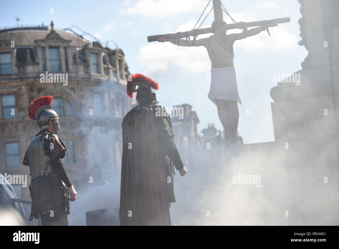 Trafalgar Square, London, UK. 25th March 2016. The Passion of Jesus is performed in Trafalgar Square for Good Friday. Stock Photo