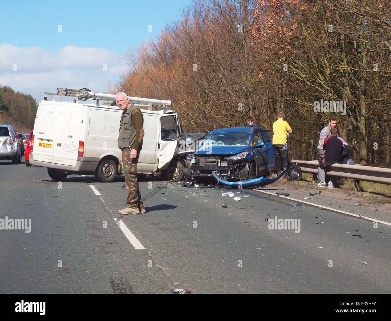 newcastle upon tyne, 25th march 2016, u.k. news. a multi vehicle car