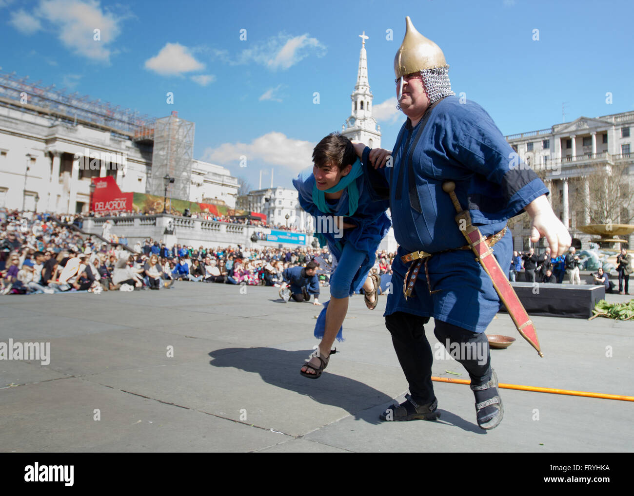 Trafalgar Square, London, UK. 25th March, 2016. On Easter's Good Friday the Wintershall cast performed  the 'Passion' Stock Photo