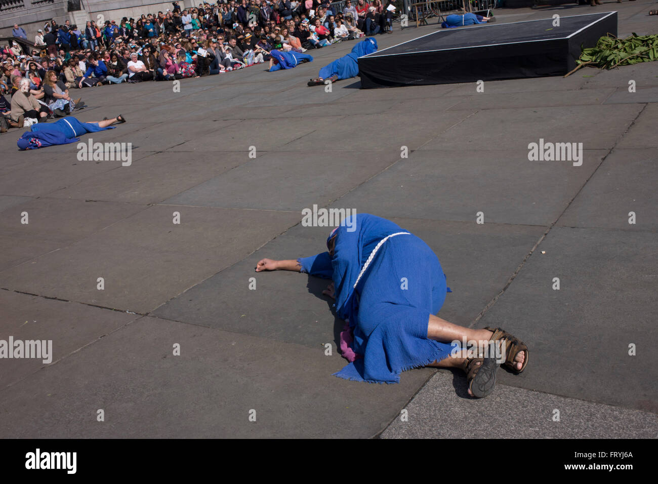 London, UK. 25th March, 2016. The Passion of Jesus is performed in London's Trafalgar Square by members of Wintershall Stock Photo