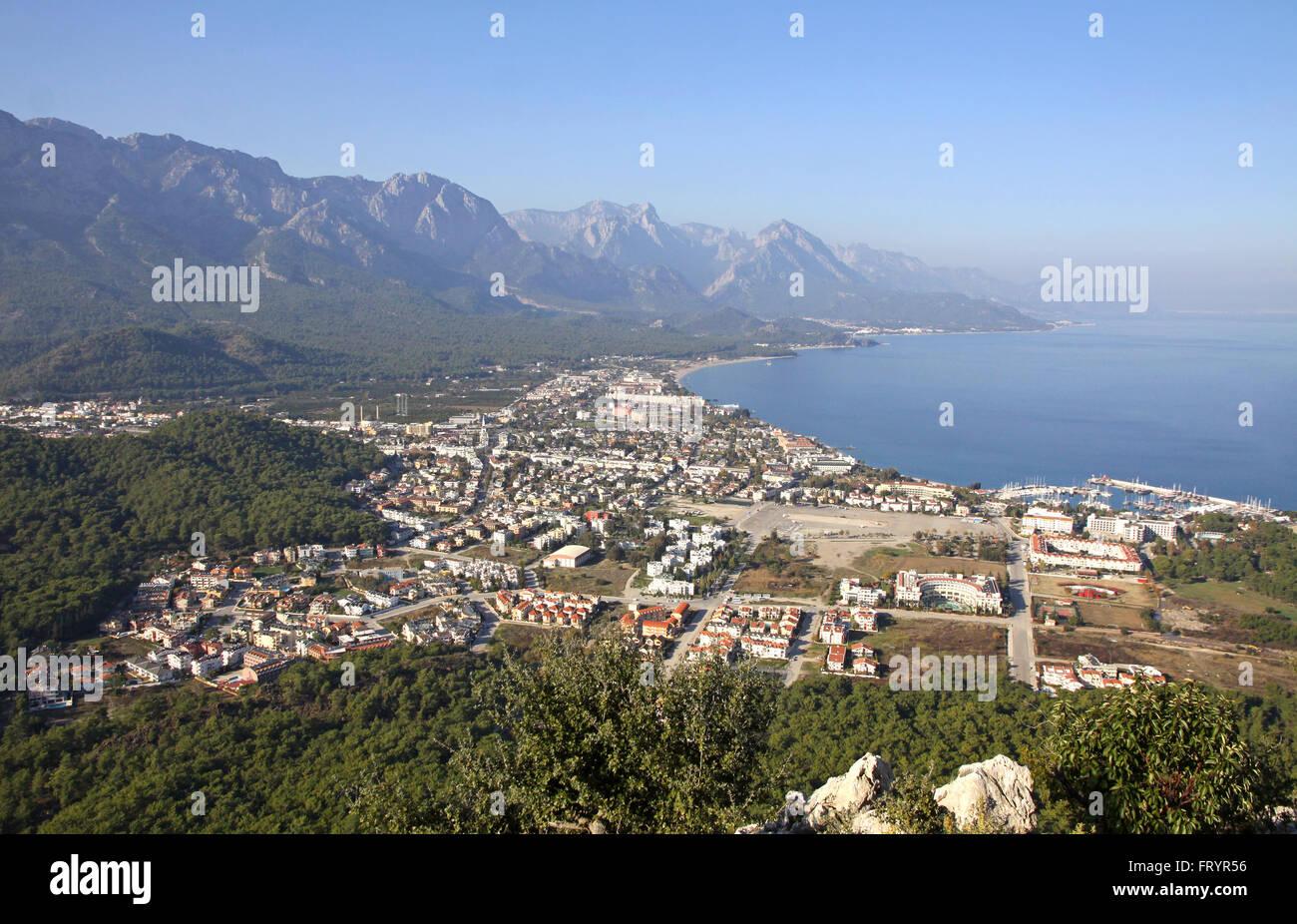 Aerial view of Kemer city, Antalya province, Turkey - Stock Image