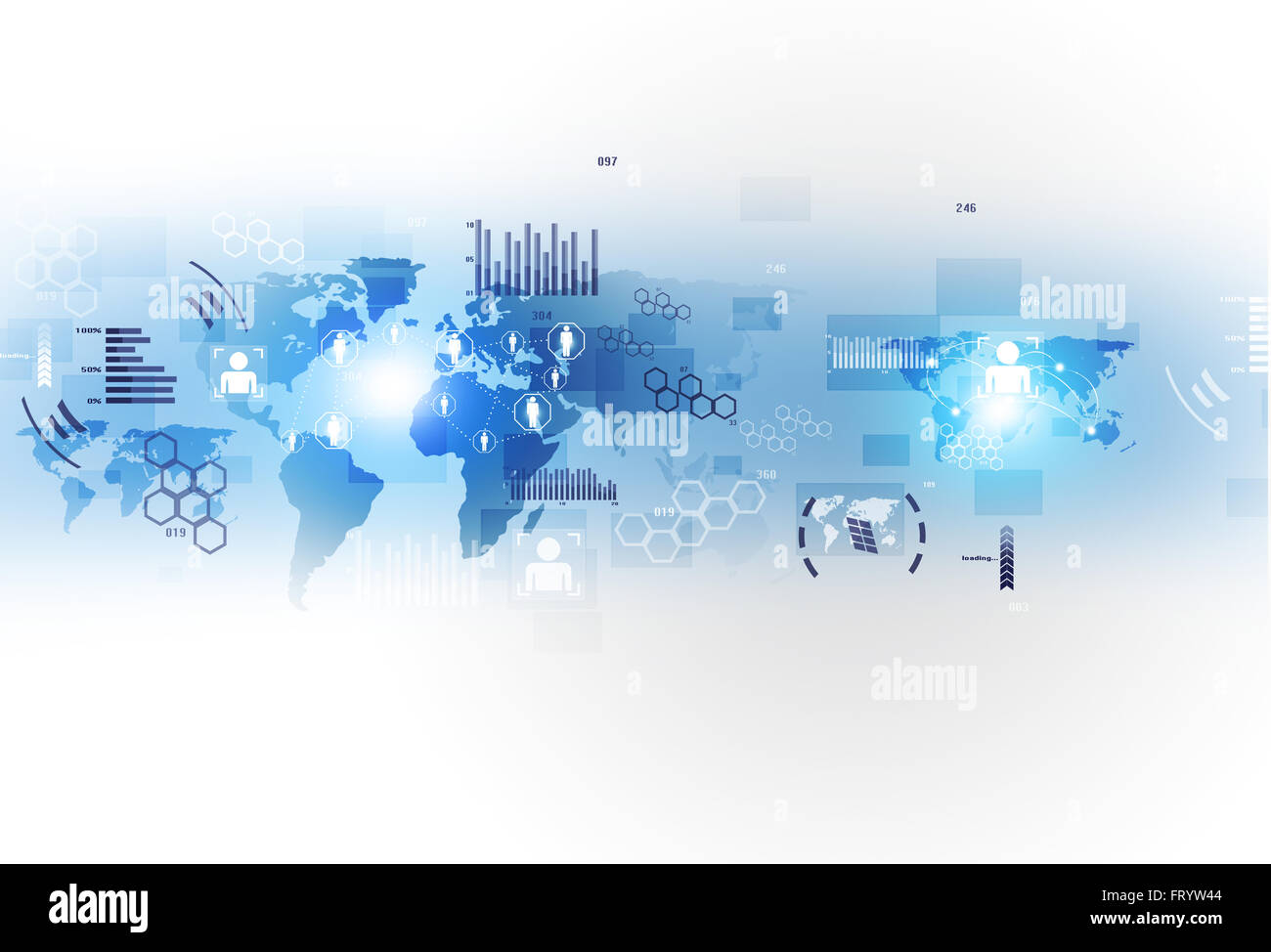network concept global web connections technology interface - Stock Image
