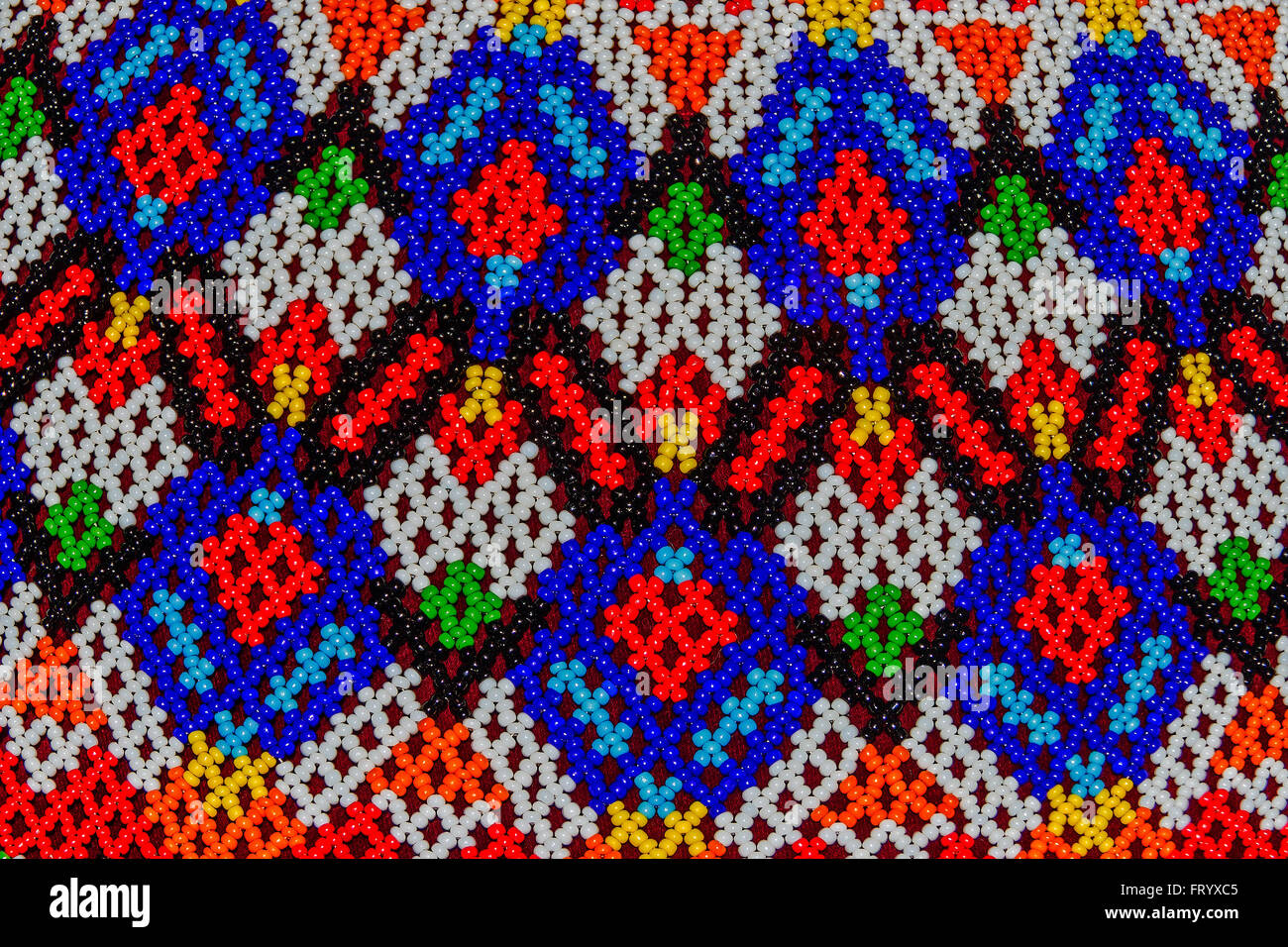 Abstract Bead Pattern From Greenland Cape Museum Oxford UK - Stock Image