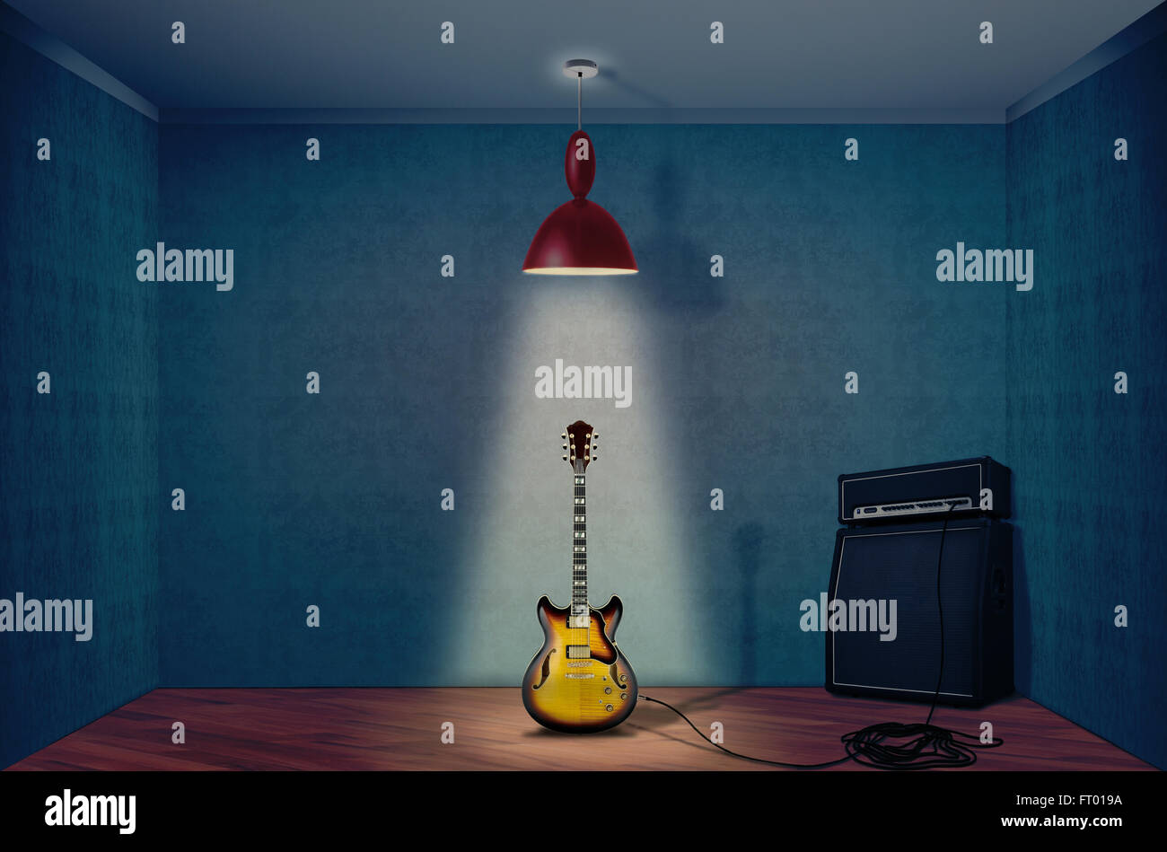 Electric guitar and amplifier - Stock Image