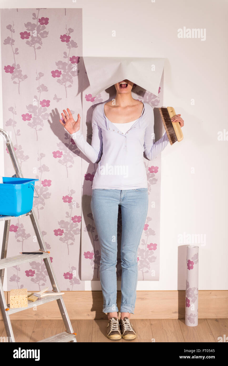 Female Handyman Enjoys To Take A Funny Pose With Her Tools And A Stock Photo Alamy