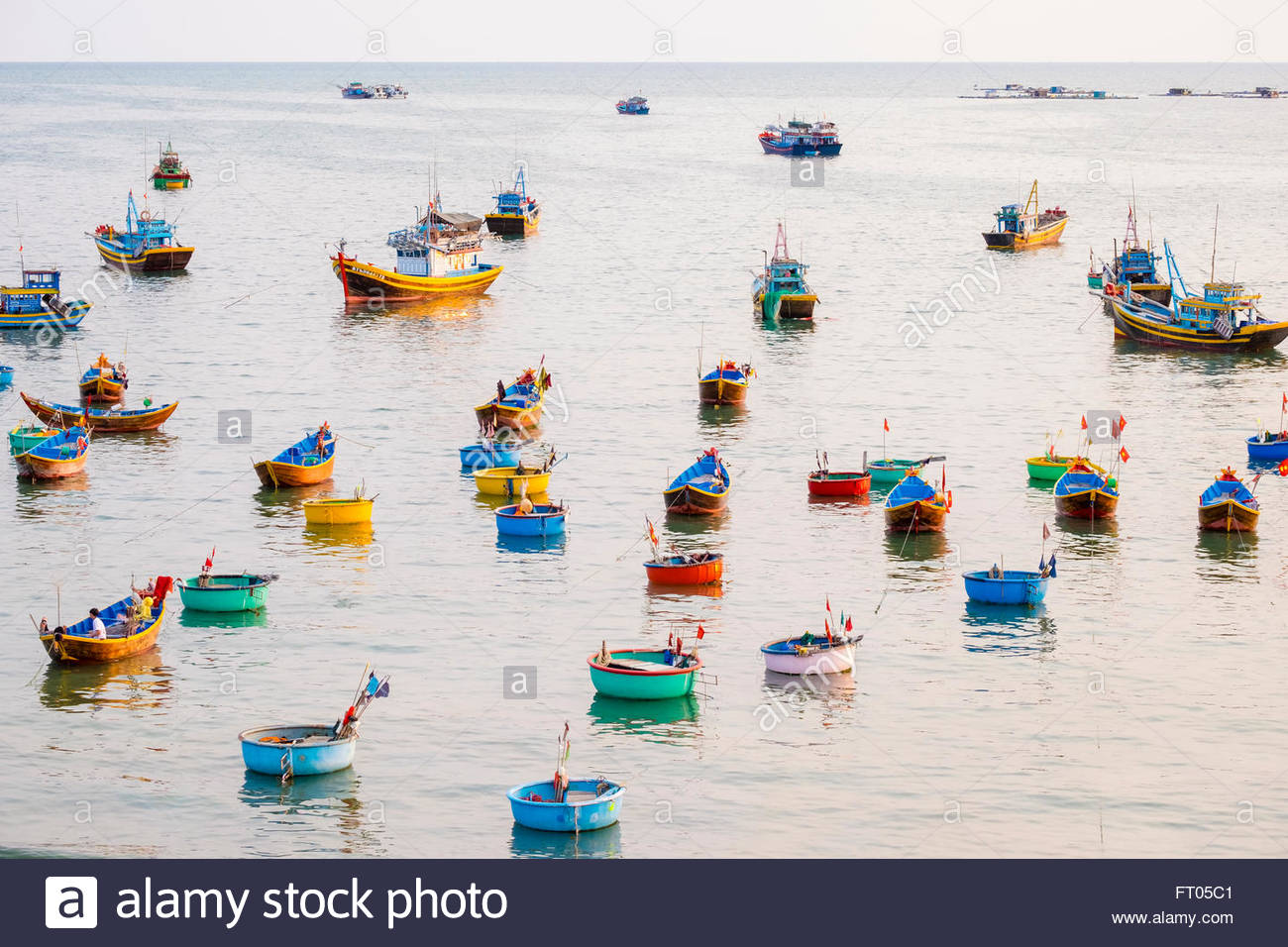 Fishing boats in harbor at Mui Ne, Phan Thiet, Binh Thuan Province, Vietnam - Stock Image