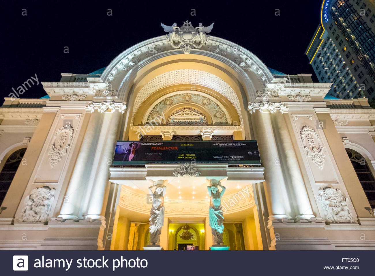 Saigon Opera House (Municipal Theatre) at night, Ho Chi Minh City (Saigon), Vietnam - Stock Image